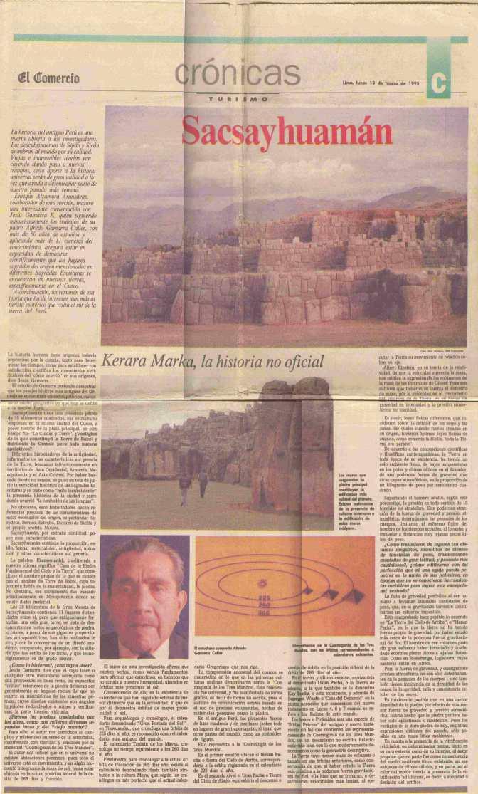 Alfredo Gamarra in El Comercio de Lima
